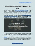 Top mobile app development companies list 2018