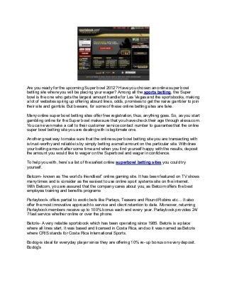 Top online Super bowl betting sites