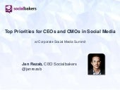 Top priorities in social media for CMOs and CEOs