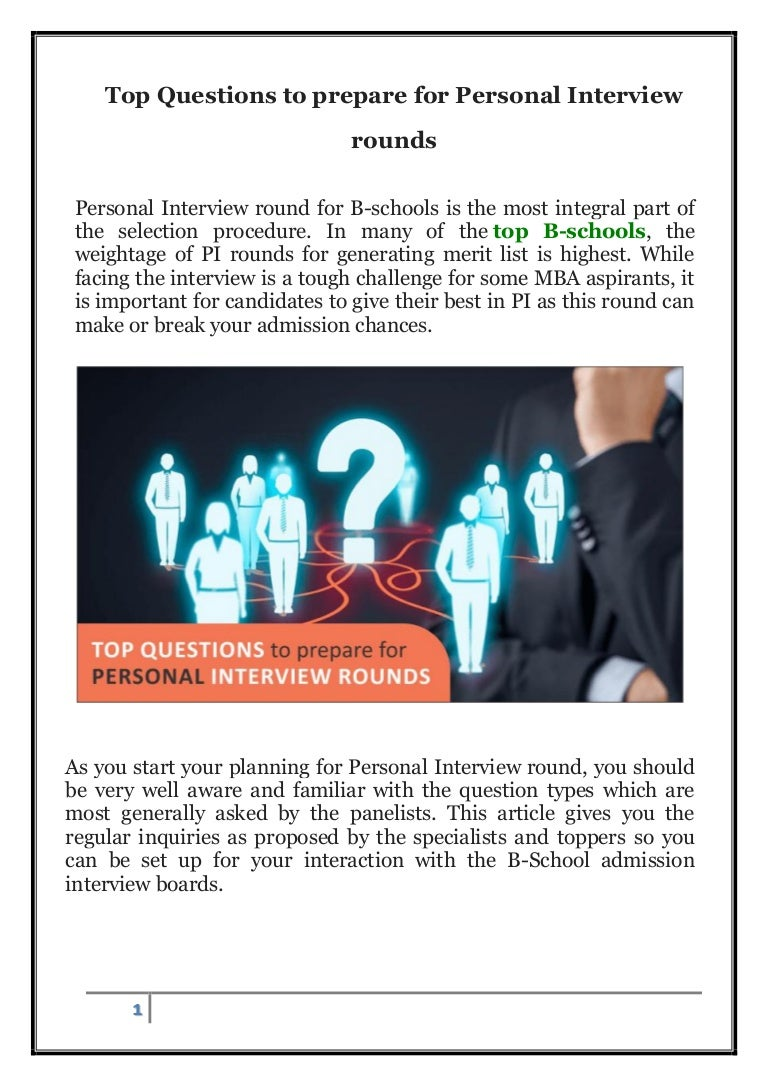 top questions to prepare for personal interview round1
