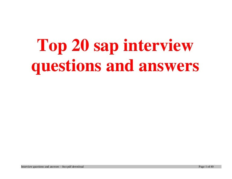 Top 20 sap interview questions and answers pdf ebook free download