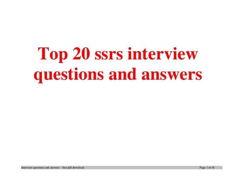 Top 20 Ssrs Interview Questions And Answers Pdf Ebook Free Download