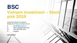 Vietnam Top stocks pick 2019 11.01.2019