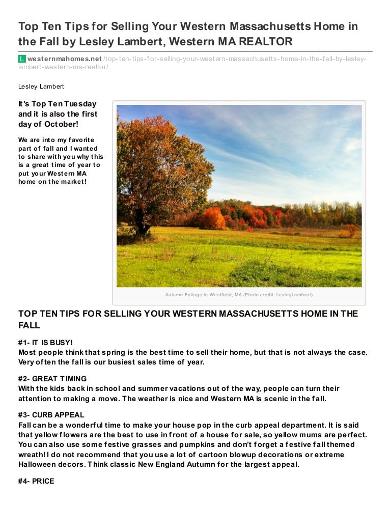 Terrific Top Ten Tips For Selling Your Western Ma Home In The Fall Download Free Architecture Designs Ferenbritishbridgeorg
