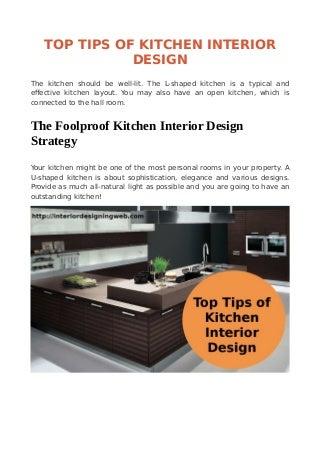 Top tips of kitchen interior design