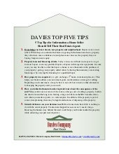 Davies Top 5 Tips: What Home Sellers Should Tell their Real Estate Agent