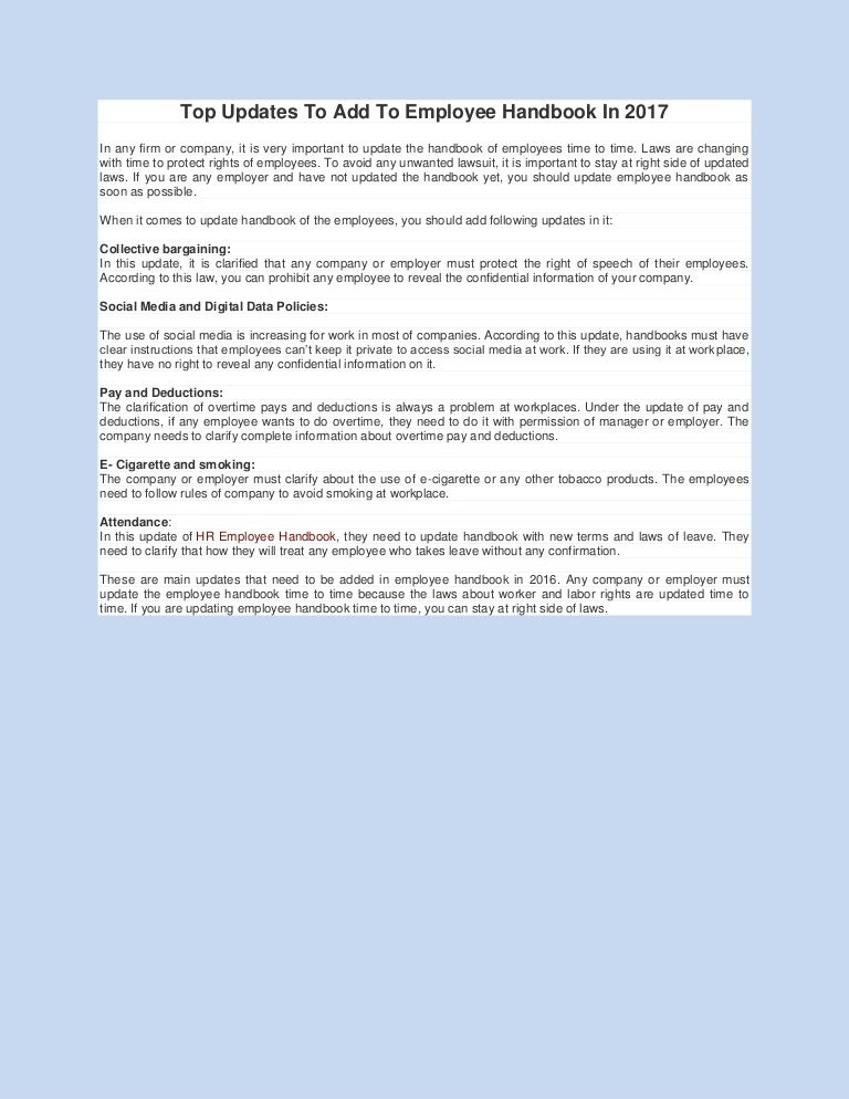 Top Updates To Add To Employee Handbook In 2017
