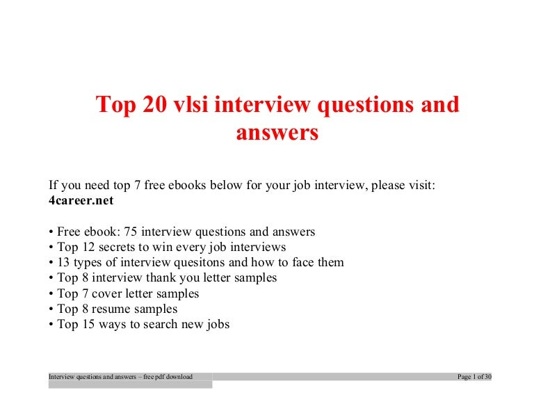 Top 20 vlsi interview questions and answers pdf ebook free