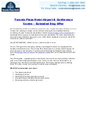 Toronto Plaza Hotel Airport & Conference Centre – Extended Stay Offer