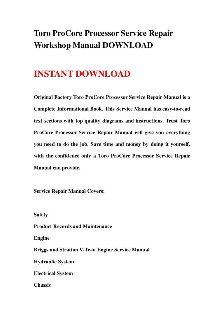 toro pro core processor service repair workshop manual download