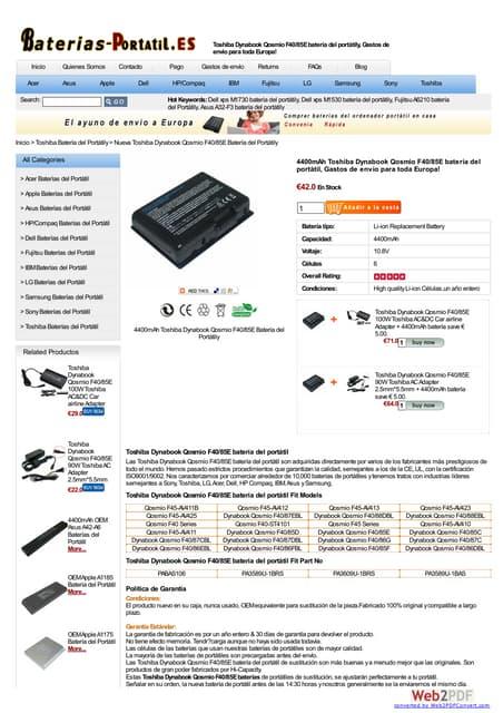 Toshiba satellite l40 12 k batería at www-baterias-portatil-es