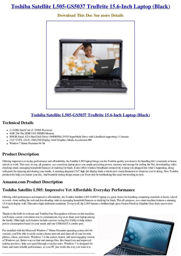 Toshiba satellite l505-gs5037 trubrite 15. 6-inch laptop (black).
