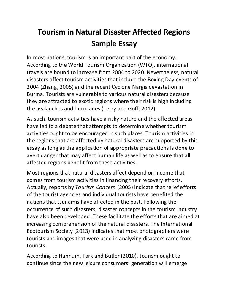 National disaster essay