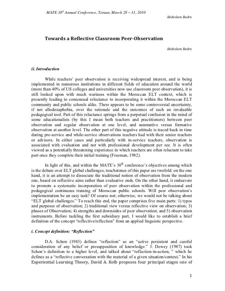 towards a reflective classroom peer doc esl efl teachers profession