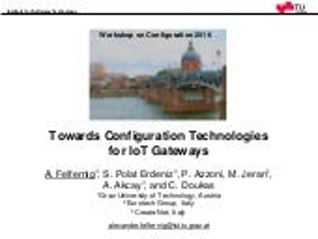 Towards Configuration Technologies  for IoT Gateways