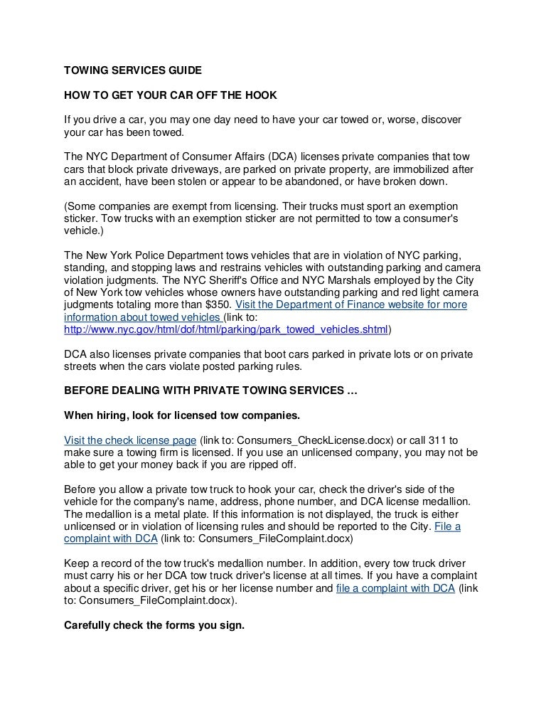 Do You Tip Tow Truck Drivers >> Department Of Consumer Affairs Towing Tip Sheet