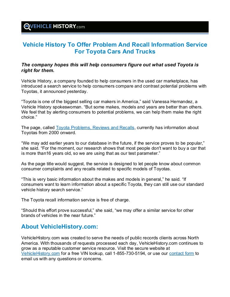 Vehicle History To Offer Problem And Recall Information Service For T…