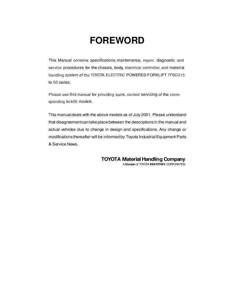 Toyota 7 fbcu55 forklift service repair manual