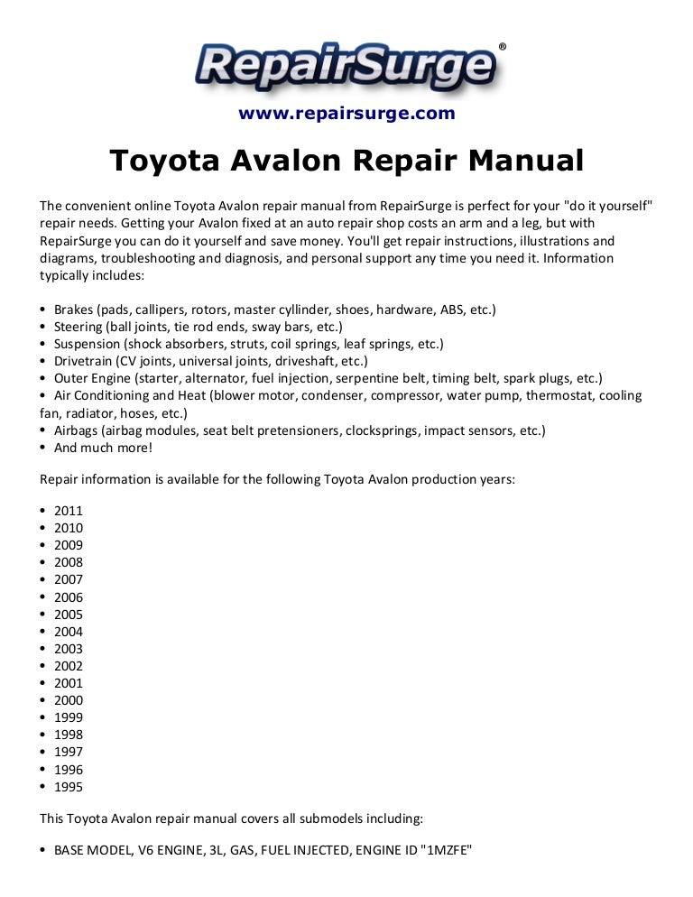 Toyota Avalon Repair Manual 1995 2011