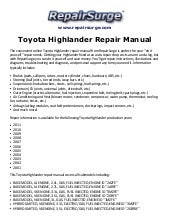 toyota highlander repair manual 2001 2011 rh slideshare net 2016 Toyota Highlander Owner Manual Toyota 4Runner