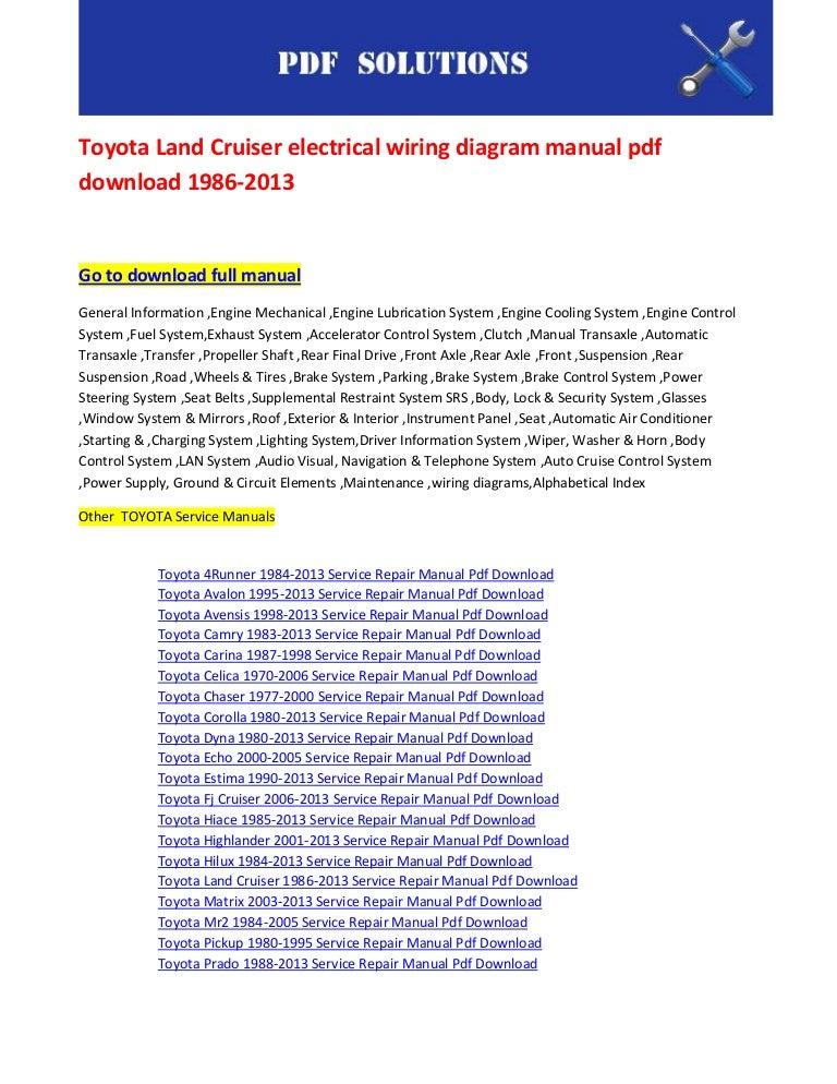 Toyota Land Cruiser Electrical Wiring Diagram Manual Pdf Download 198