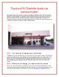 Toyota of N Charlotte busts car service myths!