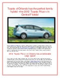 Toyota of Orlando has the perfect family hybrid –the 2012 Toyota Prius v in Central Florida!