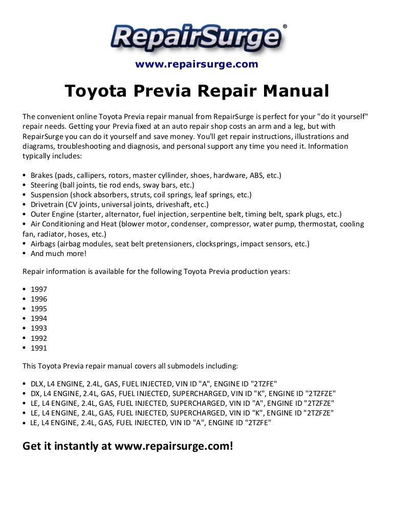Toyota previa repair manual 1991 1997 | 1997 Toyota Engine Diagrams Online |  | SlideShare