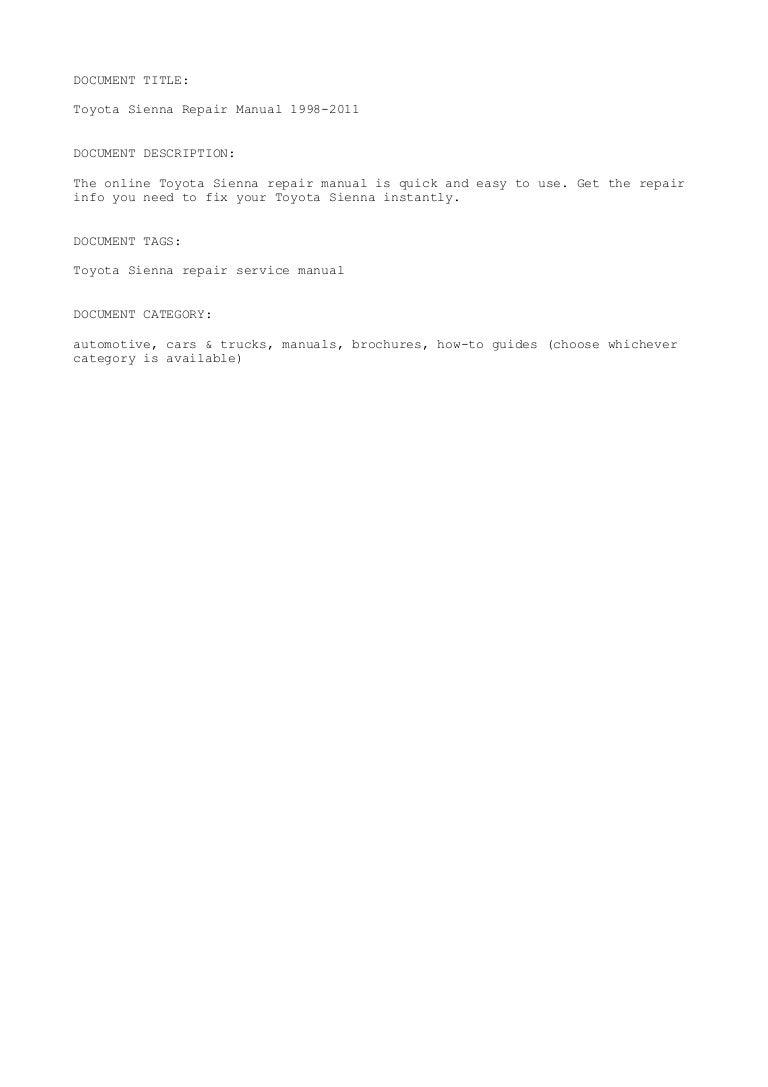 Toyota Sienna Service Manual: Repair