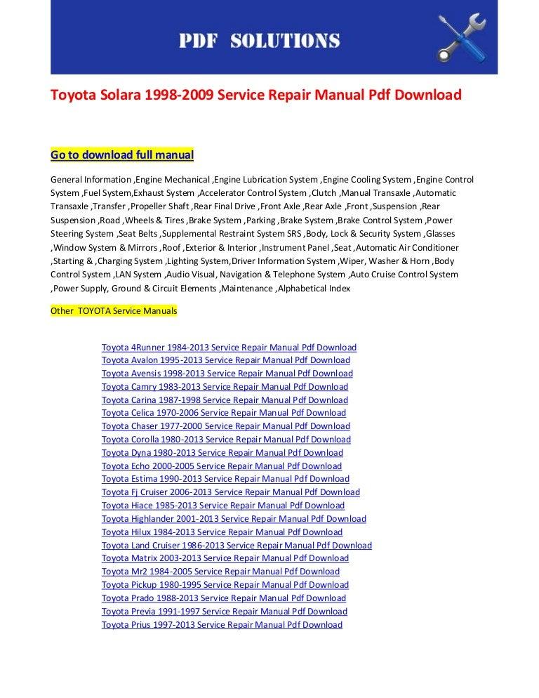 Toyota Solara 1998 2009 Service Repair Manual Pdf Download