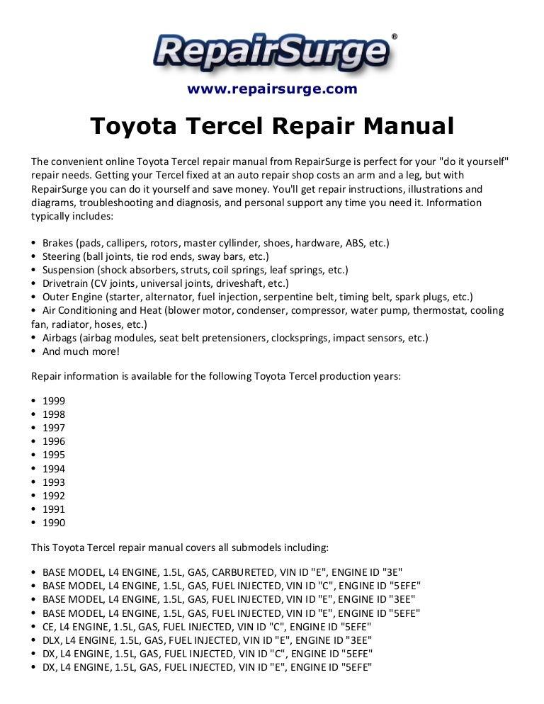 Toyota Tercel Repair Manual 1990 1999