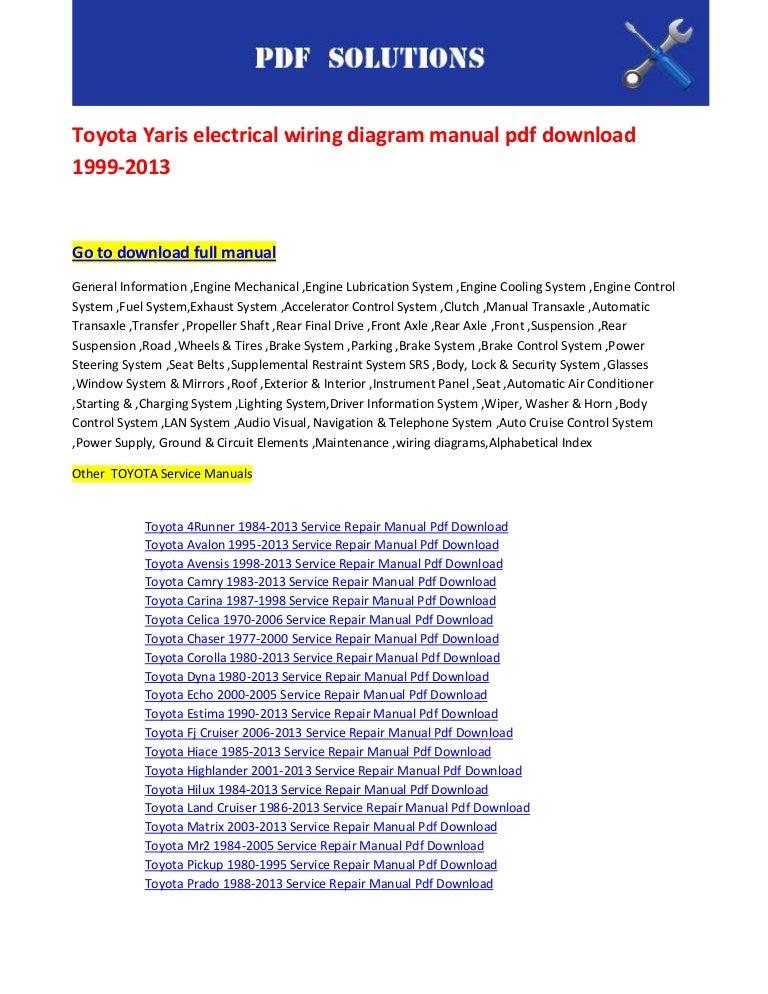 Toyota Yaris Electrical Wiring Diagram Manual Pdf Download 1999 2013
