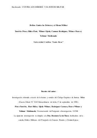 Trabajo de delitos militares contra los deberes y el honor militar