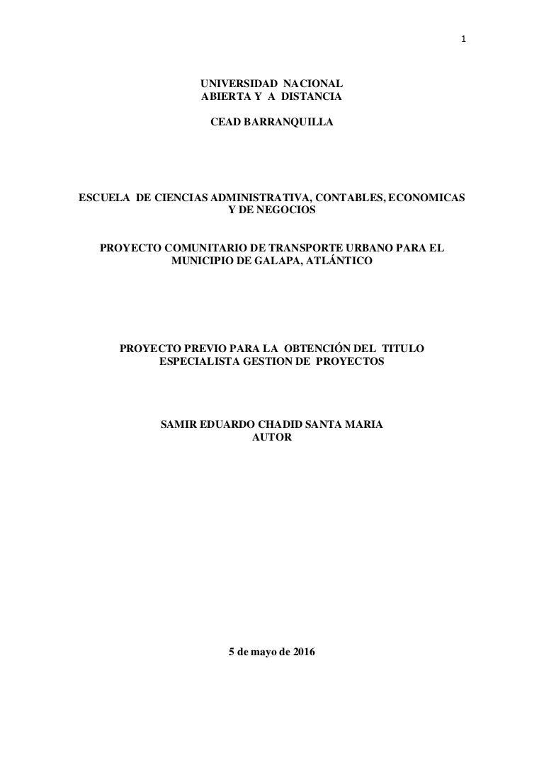 PROYECTO COMUNITARIO DE TRANSPORTE URBANO PARA EL MUNICIPIO DE GALAPA…