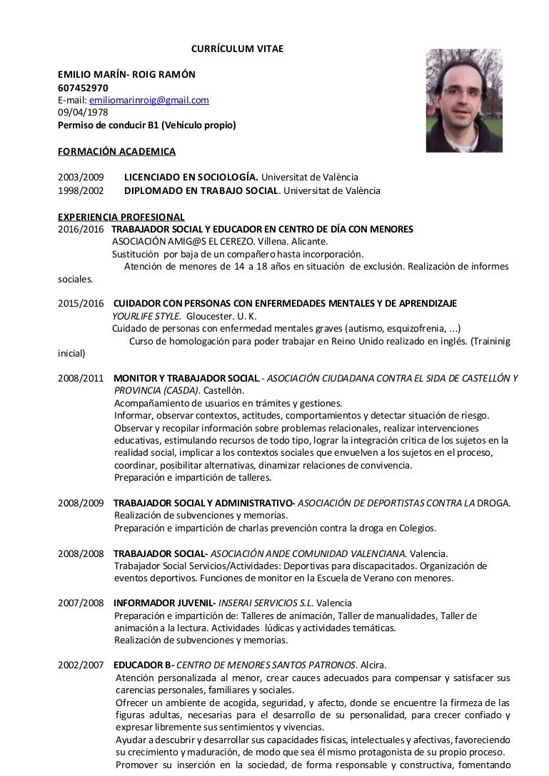 Excepcional Plantilla De Curriculum Vitae Juvenil Galería - Ejemplo ...