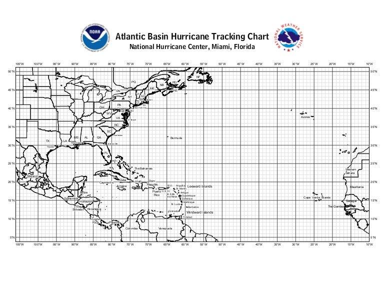 Atlantic Hurricane Tracking Chart