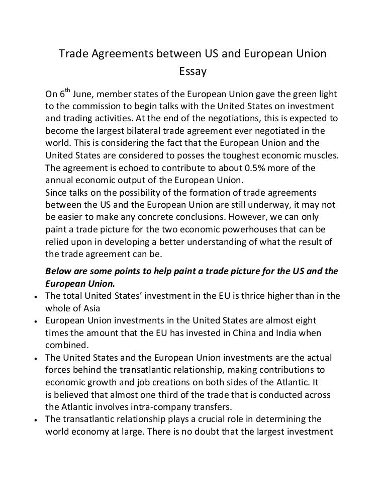 trade agreements between us and european union essay
