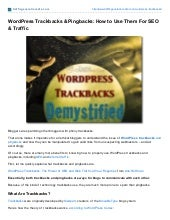 Trafficgenerationcafe Wordpress Trackbacks and Pingbacks