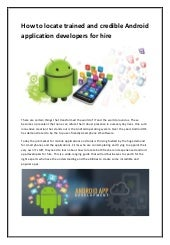 Trained and credible android application developers