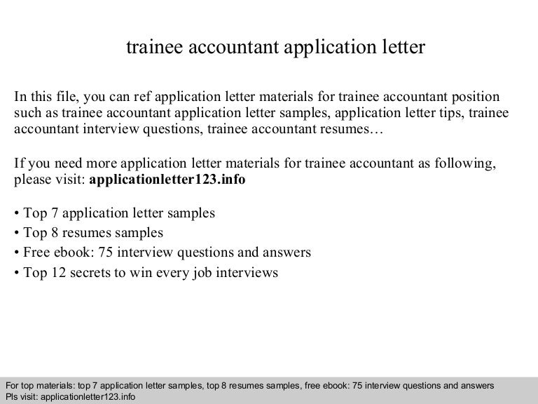 Trainee accountant application letter