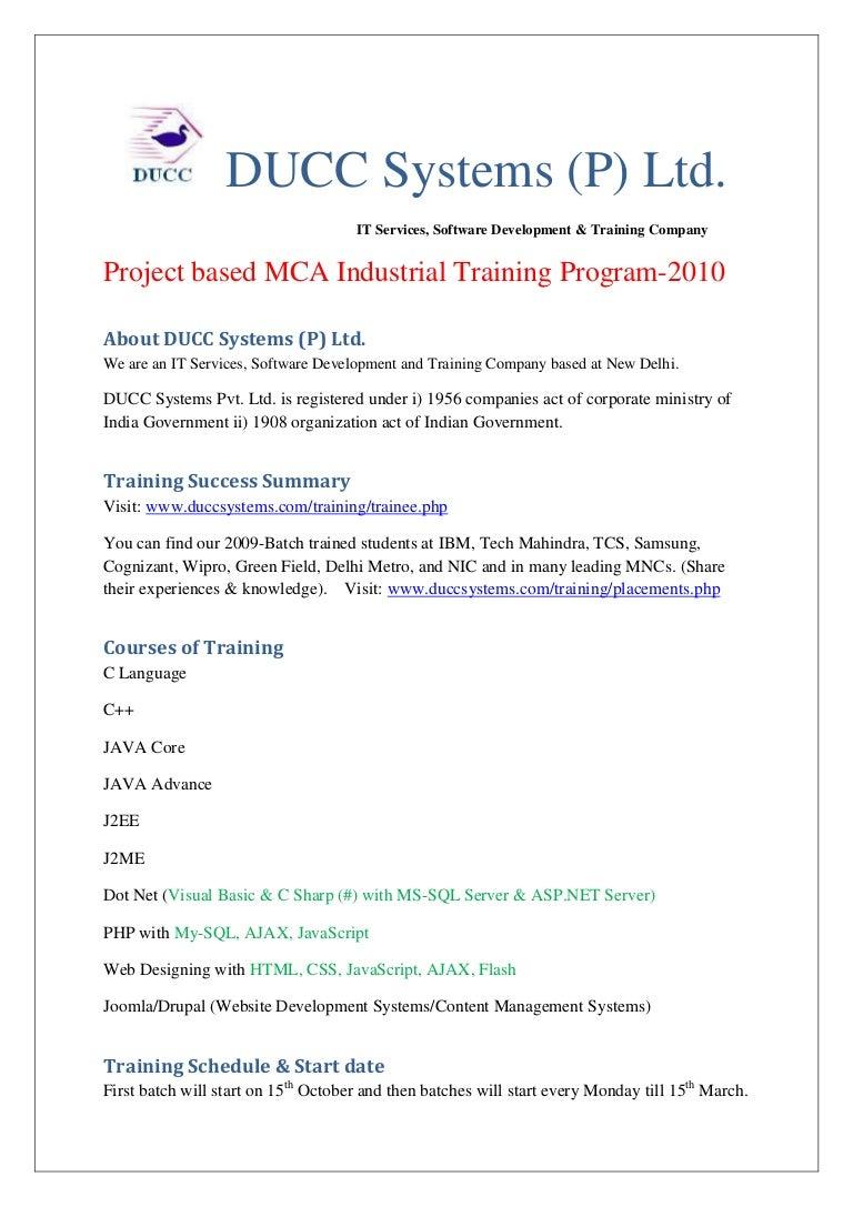 Mca Project Based Training Mca Industrial Training Mca Training