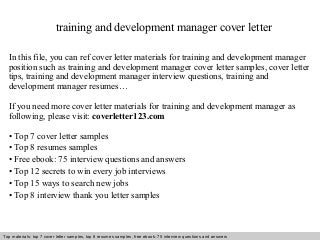 Application letter for training and development manager - Do my ...