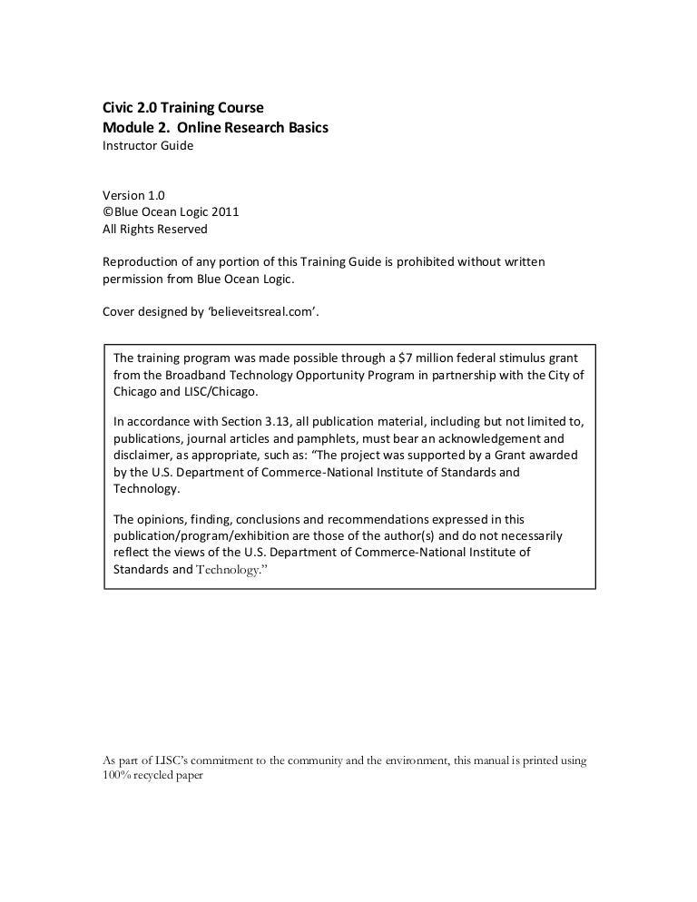 Civic 2.0 Training Course Module 2. Online Research Basics