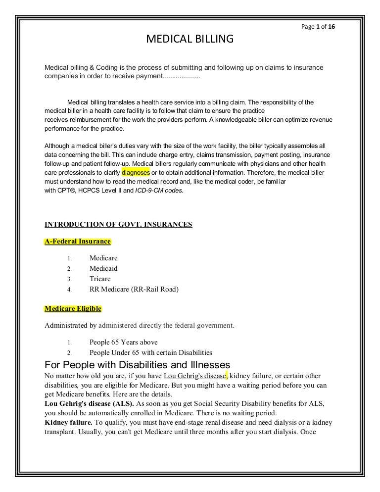 Medical Billing Training Notes