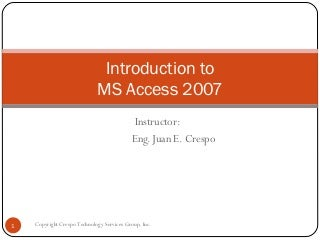 Training MS Access 2007