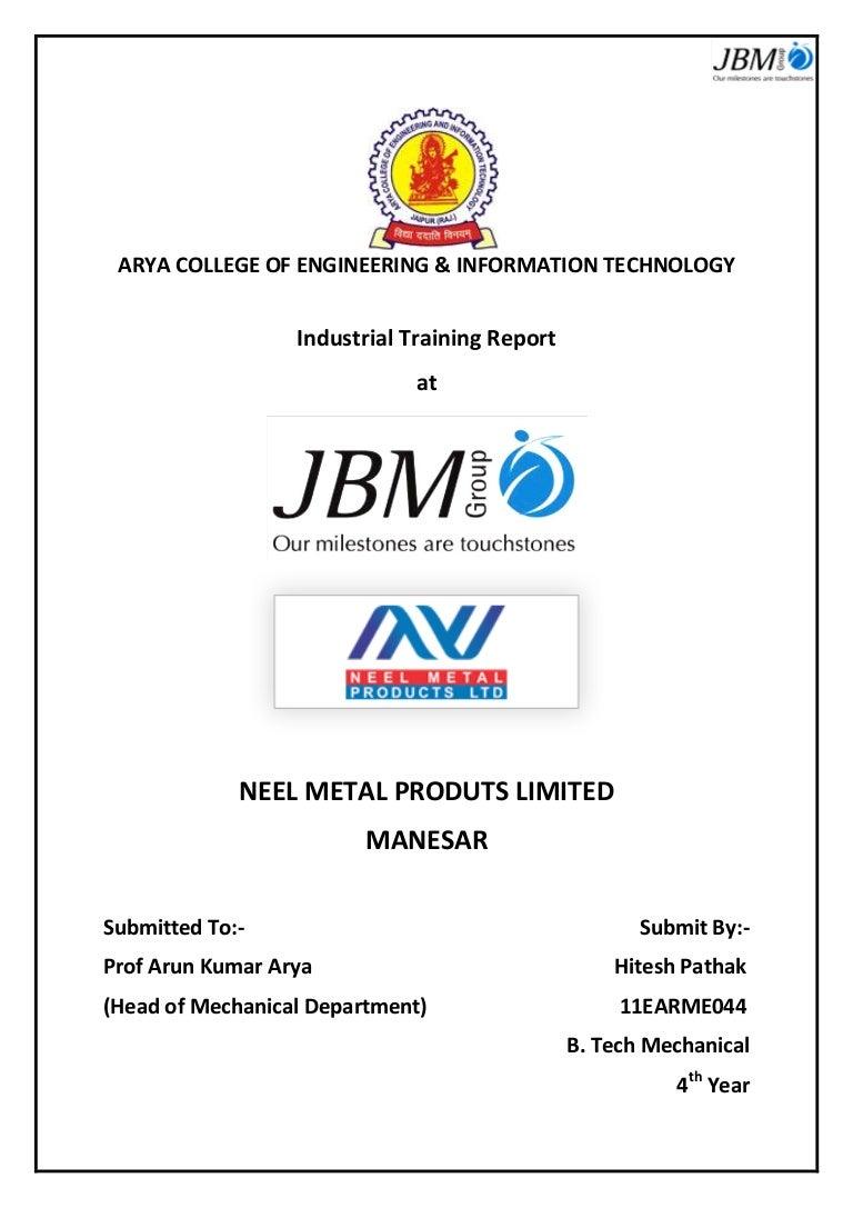 Summer Internship Report at Neel Metal Products Limited, Manesar