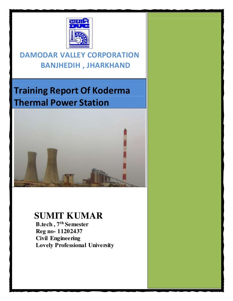 Training Report On Thermal Power Plant