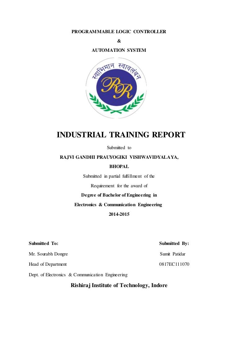 Training Report Of Plc Latched Circuit Example