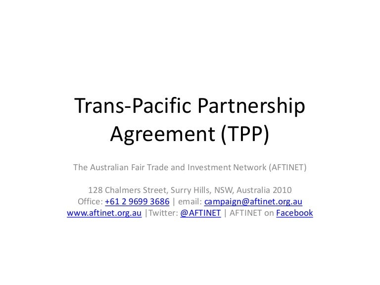 Trans Pacific Partnership Agreement Tpp