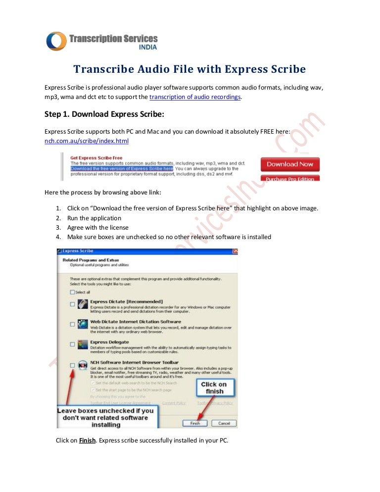 Transcribe Audio File with Express Scribe